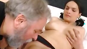 Diana has a screaming orgasm as this fat old cock penetrates her young pussy!