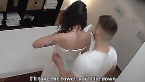 Beautiful brunette is getting seduced by a kinky masseur