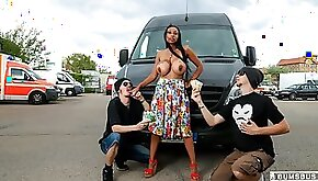 Busty German babe Ria Paradise gets cum covered in the bus