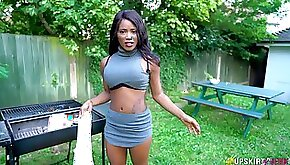 Nasty chick in short skirt is eager for your hard and big phallus