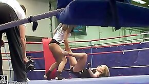 Sporty gals Jessica Moore and Kyra Ebony wrestle with great force