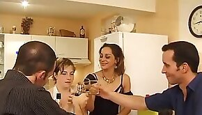 Hot French foursome sex with a blonde and an older lady