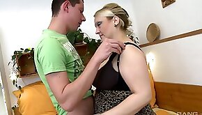 Chubby blonde cant wait to get pounded by his pulsating boner