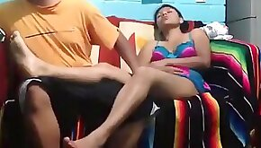 Latina gets pussy eaten out missionary fucked and rides her bf on the sofa.