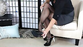 Glossy Pantyhose Sexy long Legs and Feet Tease SweetsTreats Leg Show and Foot Fetish Series