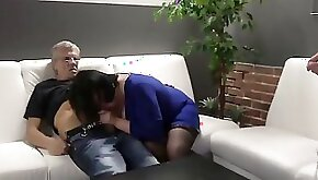 Wild mature lady is having threesome action with her husband and stepson