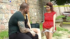 Lots of couples watch the way brunette in corset is fucked doggy hard