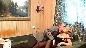 Hubby rubs my tight boobies and fucks me missionary style