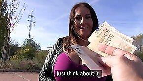 Chesty MILF Laura Orsolya fucks a dude in public for money