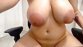 Shy plumper with huge natural tits on webcam video