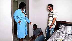 Step son fucks ebony teen with tits and cums on her face