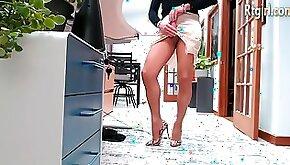 Long legs tranny in high heels teasing on cam