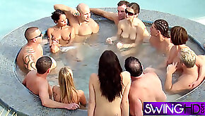 Big booty swinger babe riding multiples cocks in a wild orgy