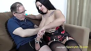 Old grandpa with gigantic dick fucks busty whore