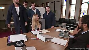 Blonde secretary Emma Haize gets tied up and gangbanged in the office