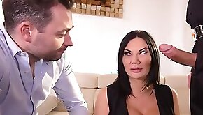 Nasty horny milf with big boobs Jasmine Jae is getting two hard cocks for a double pleasure