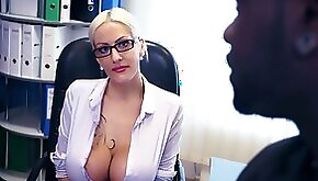 Horny boss Lena Lay is checking out king size black monster dick of one employee