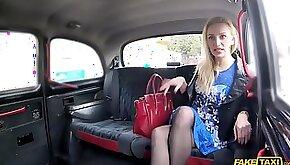 Blonde MILF in stockings gives pov blowjob fucks in car