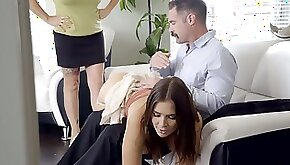 Slutty brunette got spanked and fucked by her stepfather