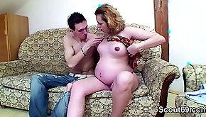 Skinny kinky boy with round huge mamba black dick fucks pregnant MILF