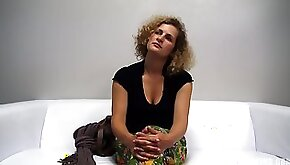 Blonde with curly hair is getting her pussy fucked during a job interview and moaning while cumming