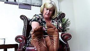Nasty Foot Fetish Aunty wants you to smell her Stocking Feet.