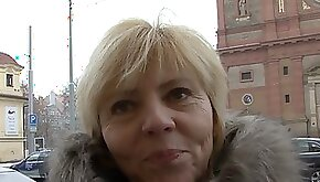 Old Czech mature lady convinced to fuck for POV video