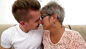 Grey haired Granny takes cock facial